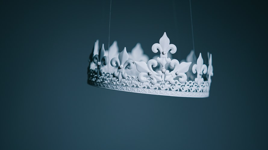 A crown hanging in the air