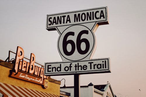 Sign end of trail route 66 Santa Monica