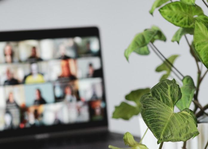 Virtual meeting screen of people