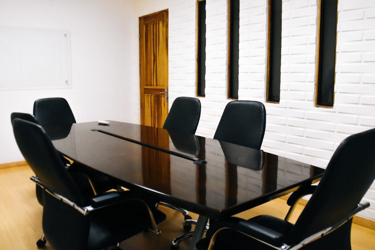 an empty conference room table