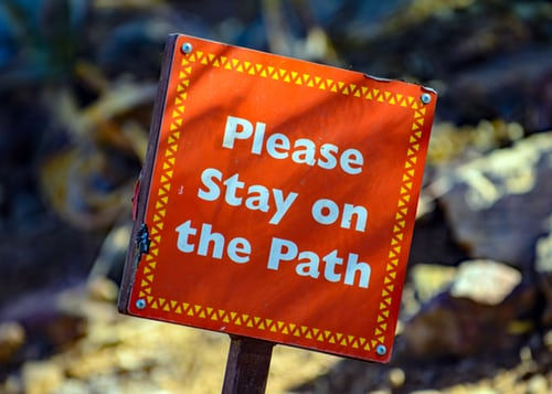Please stay on path sign
