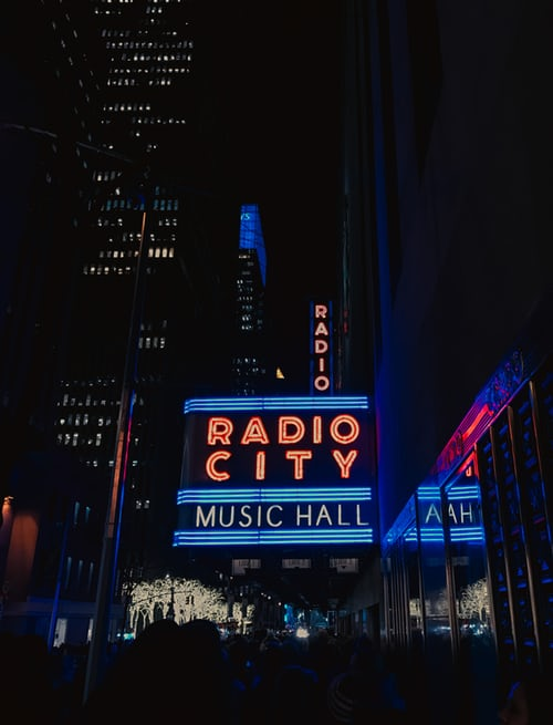 outside of Radio City Music Hall after dark c