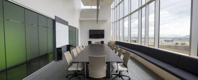 Empty conference room table