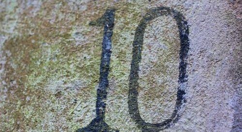 number ten written on pavement