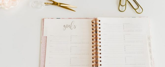 Notebook with goals as header