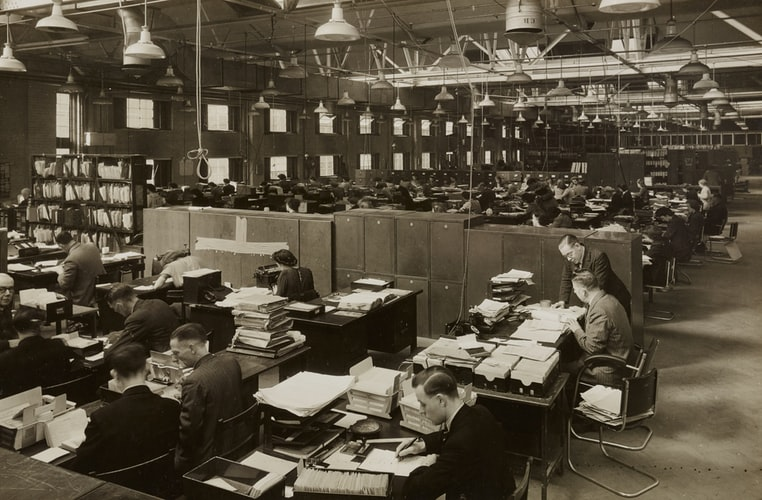 Office scene form the 1940s