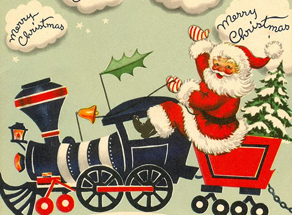 1954 Christmas card of Santa on a train