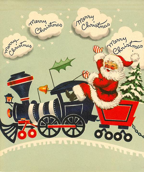 1954 Christmas card of Santa on a train